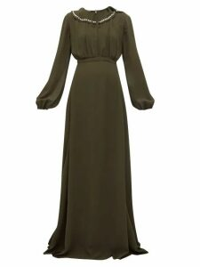 Rochas - Crystal Collar Balloon Sleeve Georgette Gown - Womens - Green