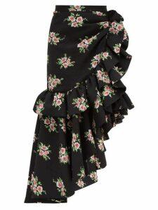 Rodarte - Asymmetric Floral Print Cloqué Midi Skirt - Womens - Black Multi
