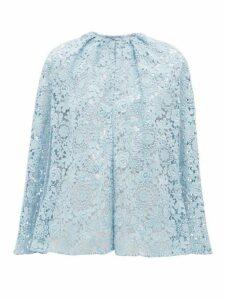 Prada - Cotton Blend Guipure Lace Cape - Womens - Blue