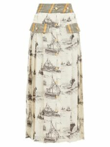 La Prestic Ouiston - Shawna Toile Print Silk Midi Skirt - Womens - Ivory Multi