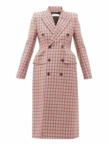 Balenciaga - Hourglass Double Breasted Checked Wool Coat - Womens - Pink Multi