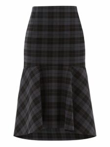 Balenciaga - Fluted Checked Twill Midi Skirt - Womens - Grey Multi