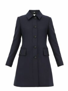 Burberry - Angus Single Breasted Wool Blend Coat - Womens - Navy