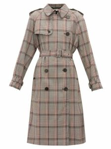 Stella Mccartney - Prince Of Wales Check Wool Trench Coat - Womens - Black Multi
