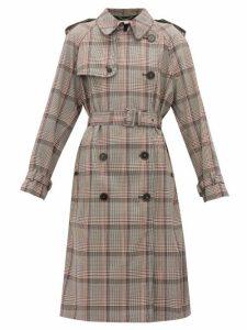 Stella Mccartney - Prince Of Wales Check Wool Trench Coat - Womens - Black Multi
