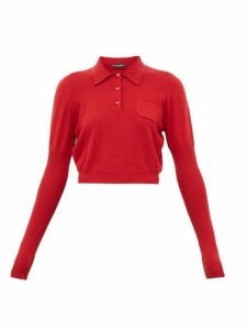 Dolce & Gabbana - Cropped Cashmere Polo Shirt - Womens - Red