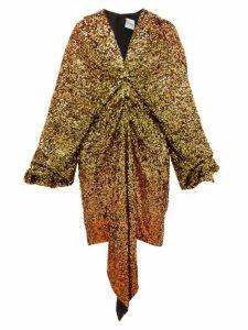 Halpern - Gathered Dégradé Sequin Dress - Womens - Gold