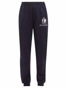 Vetements - Interpol Print Cotton Blend Jersey Track Pants - Womens - Navy
