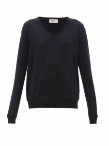Giuliva Heritage Collection - The Euridice V Neck Virgin Wool Sweater - Womens - Navy