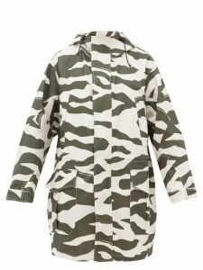 Phipps - Camouflage Print Cotton Blend Coat - Womens - White Multi