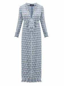 Balmain - Double Breasted Belted Bouclé Tweed Coat - Womens - Blue White