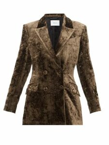 Racil - Archie Double Breasted Crushed Velvet Jacket - Womens - Brown