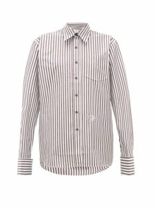 Wales Bonner - Logo Embroidered Striped Cotton Poplin Shirt - Womens - Brown White