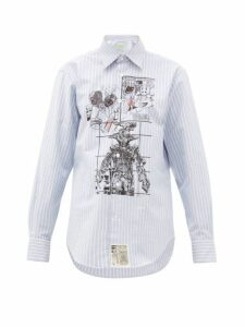 Aries - Cartoon Print Pinstripe Cotton Shirt - Womens - Light Blue