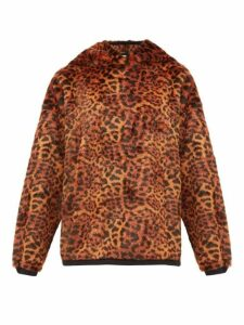Aries - Leopard Print Faux Fur Hooded Sweatshirt - Womens - Leopard
