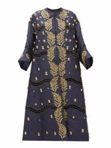 Biyan - Hawwa Crystal Embellished Silk Twill Coat - Womens - Navy Gold