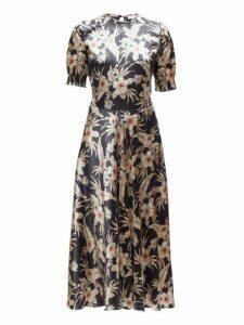 Altuzarra - Adeline Floral Silk Blend Charmeuse Midi Dress - Womens - Black Multi