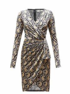 Altuzarra - Louise Paisley Print Jersey Wrap Front Dress - Womens - Black Multi