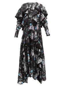 Preen By Thornton Bregazzi - Liza Ruffled Floral Satin Devoré Dress - Womens - Black Multi