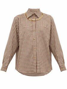 Burberry - Chain Trim Gingham Cotton Flannel Shirt - Womens - Brown Print