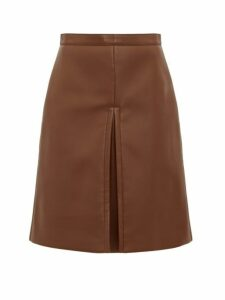 Burberry - Inverted Pleat Faux Leather Skirt - Womens - Brown