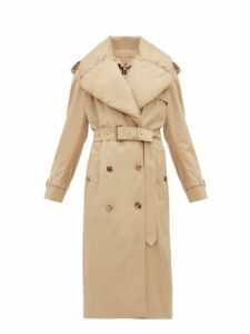 Burberry - Padded Collar Cotton Gabardine Trench Coat - Womens - Light Beige