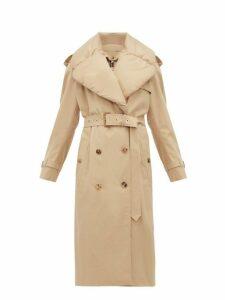 Burberry - Padded Collar Cotton-gabardine Trench Coat - Womens - Light Beige