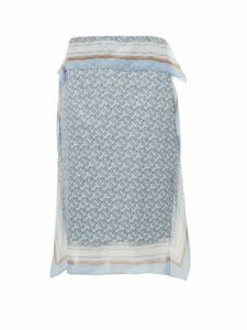Burberry - Tb Monogram Silk Skirt - Womens - Light Blue