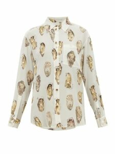 Burberry - Oyster Print Pearl Embroidered Silk Blouse - Womens - White Print