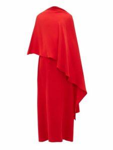 Valentino - Asymmetric Silk Cady Cape Dress - Womens - Red