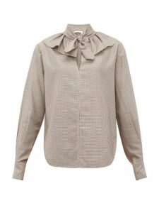 See By Chloé - Tie Neck Houndstooth Twill Blouse - Womens - Beige