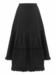 See By Chloé - Asymmetric Hem Cotton Poplin Midi Skirt - Womens - Black