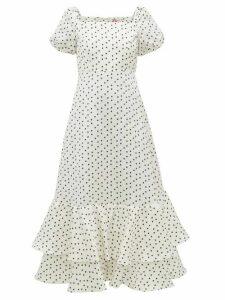 Shrimps - Eve Polka Dot Linen Blend Faille Dress - Womens - Ivory