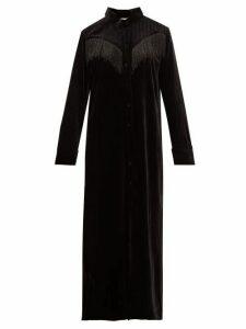 Blazé Milano - Etoile Beaded Fringe Velvet Shirtdress - Womens - Black