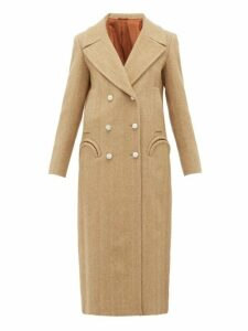 Blazé Milano - Lady Anne Double Breasted Herringbone Wool Coat - Womens - Beige White