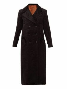 Blazé Milano - Double Breasted Wave Effect Velvet Faux Fur Coat - Womens - Black