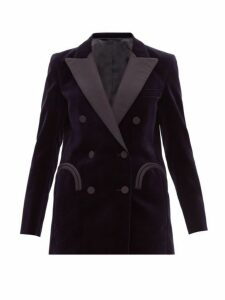 Blazé Milano - Jealousy Everyday Double Breasted Velvet Blazer - Womens - Navy