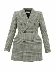 Balenciaga - Hourglass Checked Wool Blazer - Womens - Black White