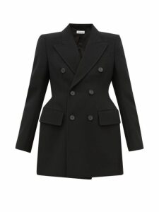 Balenciaga - Hourglass Double Breasted Wool Twill Blazer - Womens - Black