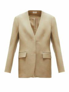 The Row - Murray Collarless Wool Twill Blazer - Womens - Beige