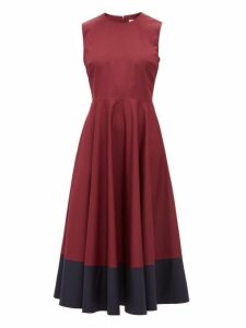 Roksanda - Athena Colour Block Cotton Dress - Womens - Burgundy Multi