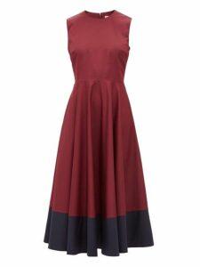 Roksanda - Athena Colour Block Cotton Dress - Womens - Burgundy Multi