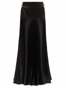 Alexandre Vauthier - Crystal Buckle Silk Blend Pleated Maxi Skirt - Womens - Black