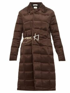 Bottega Veneta - Chain Embellished Quilted Satin Coat - Womens - Dark Brown