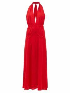 Roland Mouret - Katana Halterneck Wool Crepe Dress - Womens - Red