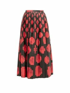 Marni - Pleated Pixel Print Leather Midi Skirt - Womens - Black Red