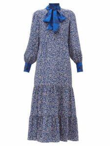 Beulah - Sandhya Floral Print Silk Dress - Womens - Navy Multi