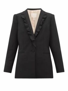 Rebecca Taylor - Ruffled Lapel Twill Blazer - Womens - Black