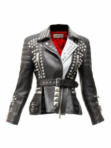 Alexander Mcqueen - Studded Leather Biker Jacket - Womens - Black Multi
