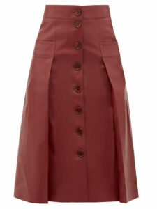 Dodo Bar Or - Galina Button Through Leather Skirt - Womens - Burgundy